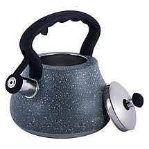 Чайник Kamille Серый 2,7л из нержавеющей стали со свистком и нейлоновой ручкой KM-1091, фото 2