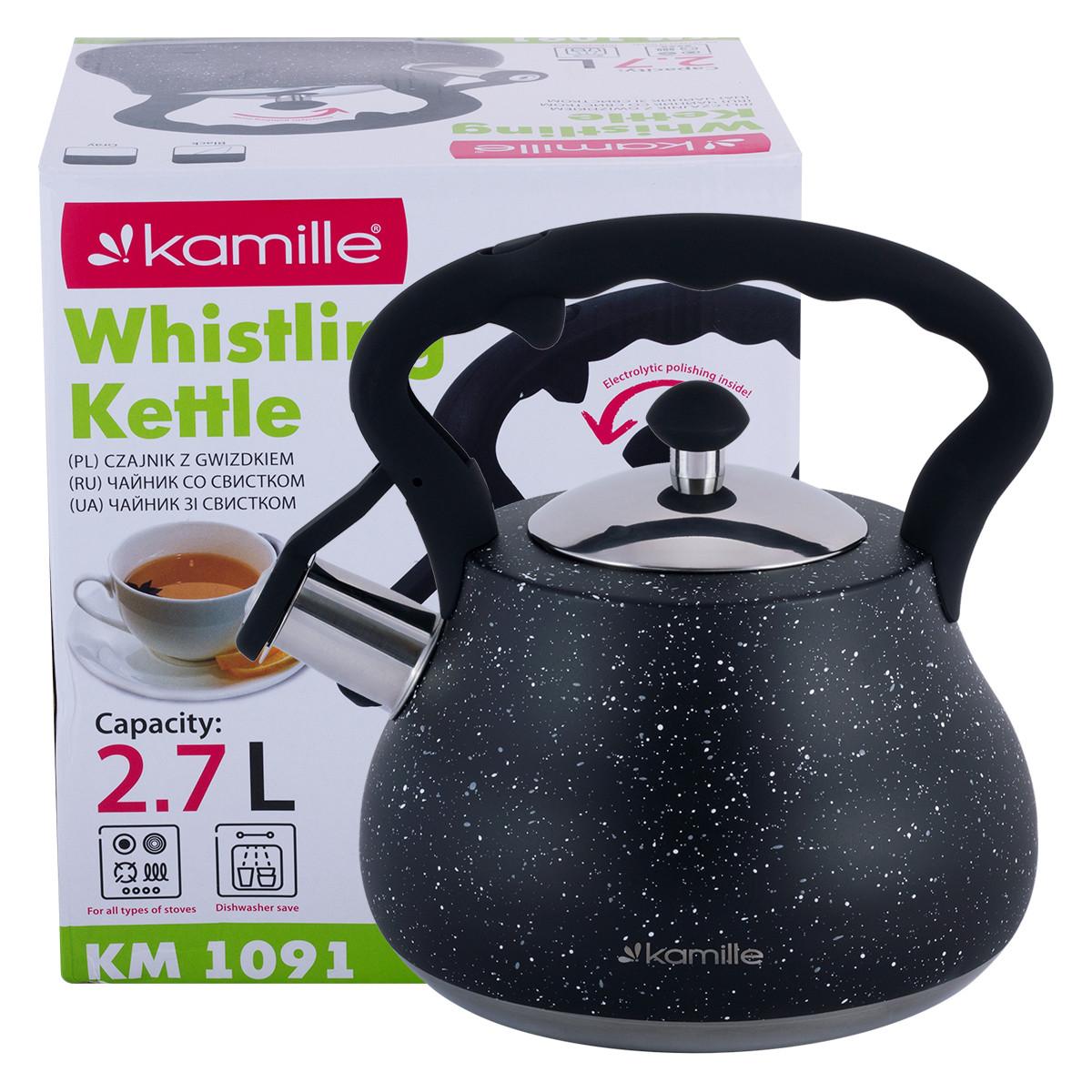 Чайник Kamille Черный 2,7л из нержавеющей стали со свистком и нейлоновой ручкой KM-1091BL
