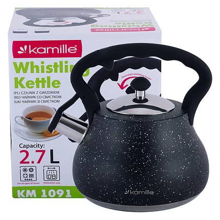 Чайник Kamille Черный 2,7л из нержавеющей стали со свистком и нейлоновой ручкой KM-1091BL, фото 2