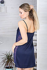 Ночная рубашка шелковая Н1015 Синий, фото 2
