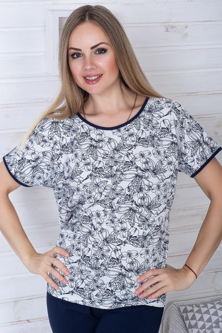 Пижама капри + футболка П1106 Синий + лилии