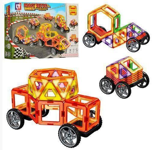 """Магнитный конструктор LT 3002 Magnetic """"Транспорт"""", 58 деталей (Limo Toy)"""