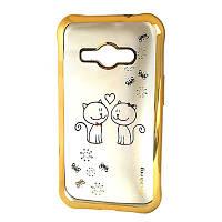 Силиконовый чехол Beckberg с золотой окантовкой и принтом для Samsung J110 Galaxy J1 Ace
