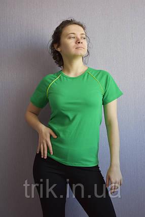 Футболка реглан зеленая с желтым кантиком, фото 2