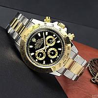 Механические наручные мужские часы в стиле Rolex Daytona Ролекс Дайтона Золотые с черным циферблатом