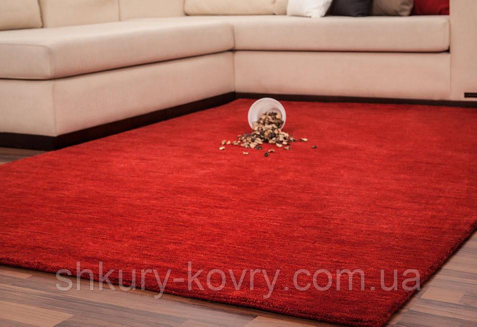 Красный однотоный ковер ручной работы из натуральной 100% шерсти