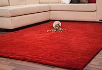 Красный однотоный ковер ручной работы из натуральной 100% шерсти, фото 1