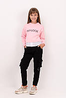 Штаны детские карго с карманами замшевые для девочки ,в расцветках (122 - 152 ) чёрные