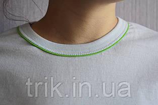 Футболка белая с зеленым кантиком, фото 3