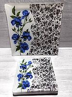 """Набір квадратних тарілок 6+1 """"Royal Opal"""" синя троянда на білому"""