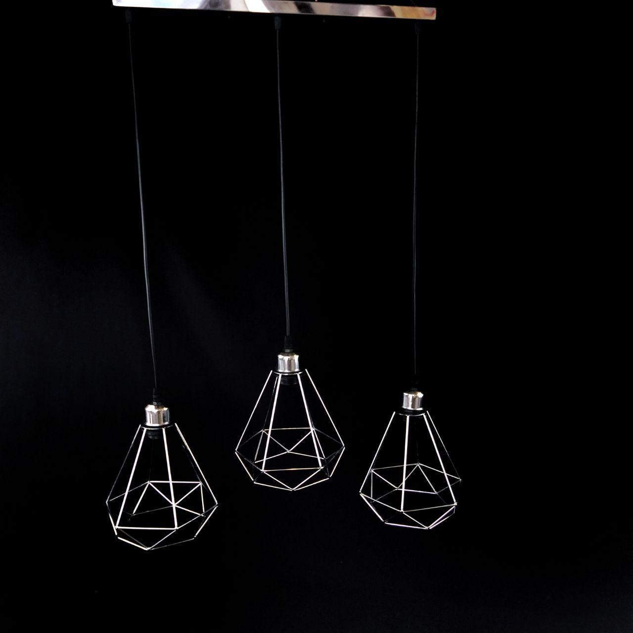 Люстра подвесная на 3 лампы лофт хром на черном проводе YS-TY056-3CH CR