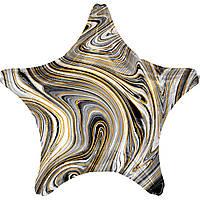 Фольгированный шар звезда агат чёрный 45 см (Anagram)