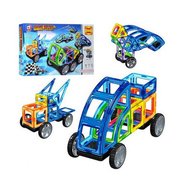 "Магнітний конструктор LT3003 Magnetic Sheet ""Транспорт"" 87 деталей (Limo Toy)"
