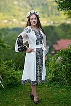 """Сучасне вишите плаття з пишними рукавами, вишивка гладдю, колір на Ваш смак """"Турецька гладдь"""""""
