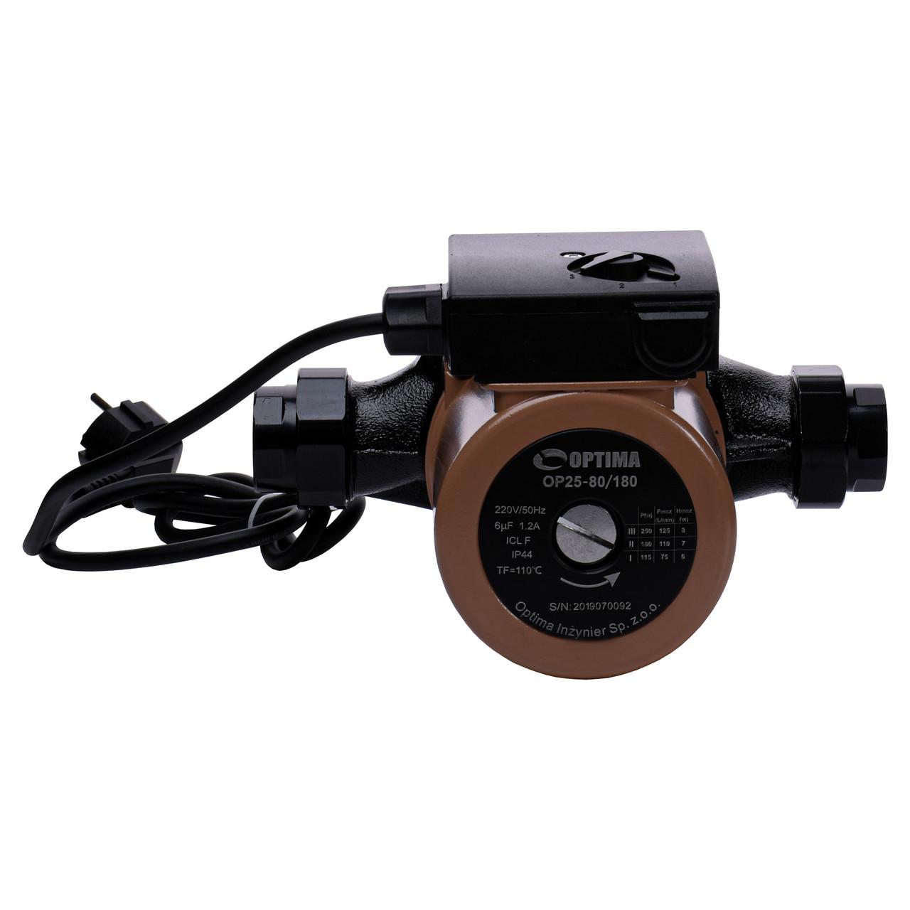 Насос циркуляційний Optima OP25-80 180мм + гайки, + кабель з вилкою!