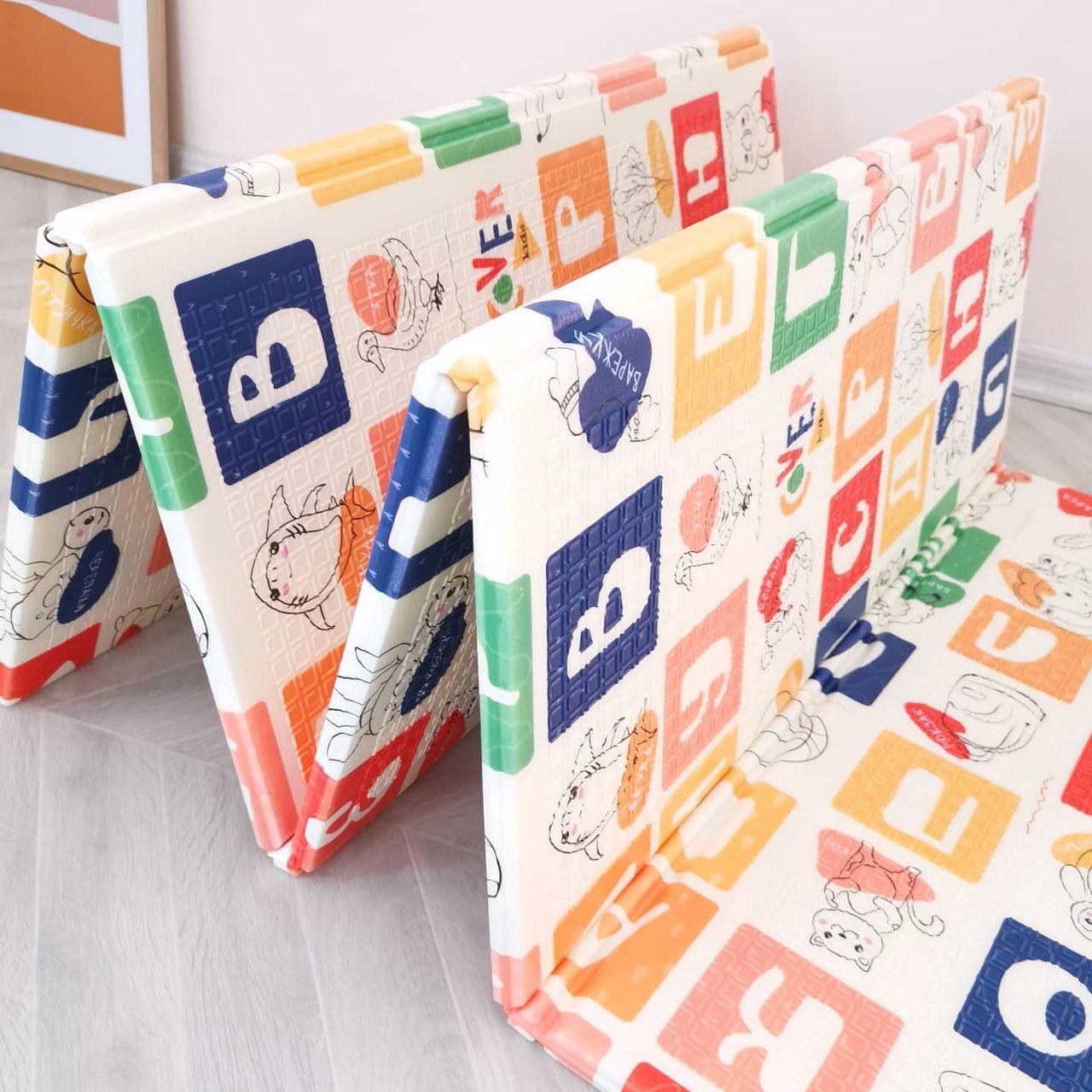 Дитячий розвиваючий двосторонній термо килимок №6, Алфавіт і Дороги, розмір 200х180х1см