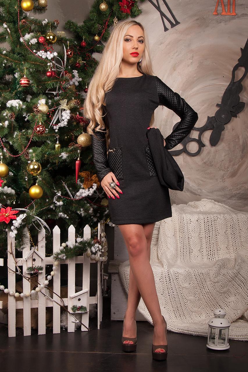 Платье женское модель №231-2,р.44 темно-серое