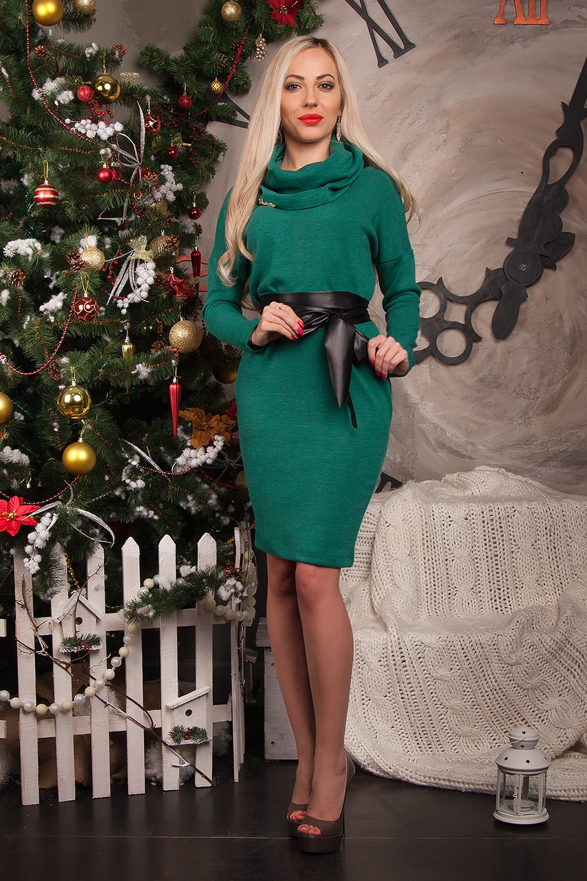 Платье-туника  мод 230-6 размер 52-56 бутылочное