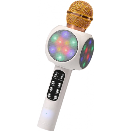 Мікрофон караоке WSTER WS-1816 - бездротової Bluetooth мікрофон з світломузикою, слотом USB, FM тюнером Білий, фото 2
