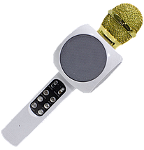 Мікрофон караоке WSTER WS-1816 - бездротової Bluetooth мікрофон з світломузикою, слотом USB, FM тюнером Білий, фото 3