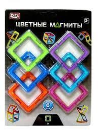 """Магнитный конструктор 2431 Квадраты """"Цветные магниты"""", 6 деталей ( Play Smart )"""
