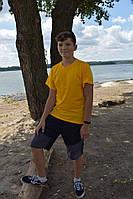 Подростковая желтая футболка широкая бейка
