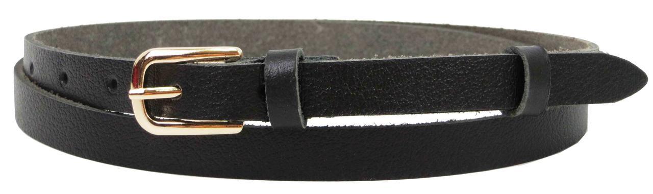 Узенький женский кожаный поясок, ремень Skipper, черный 1,5 см