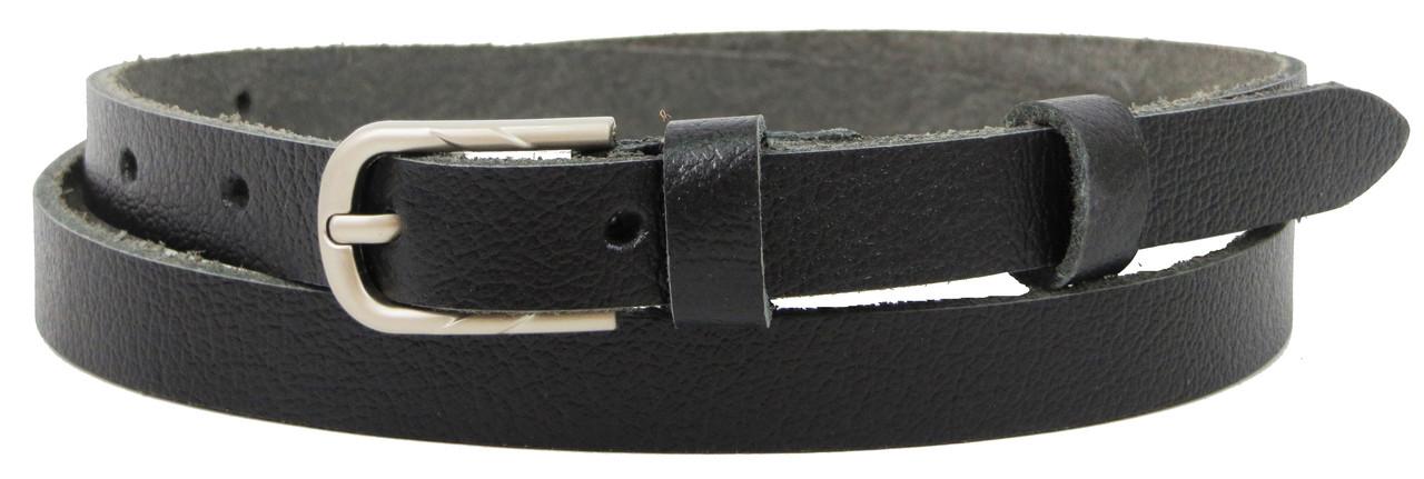 Тонкий женский кожаный поясок, ремень Skipper, черный 1,5 см
