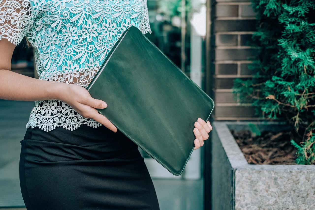 Чохол для MacBook Вінтажна шкіра колір Зелений