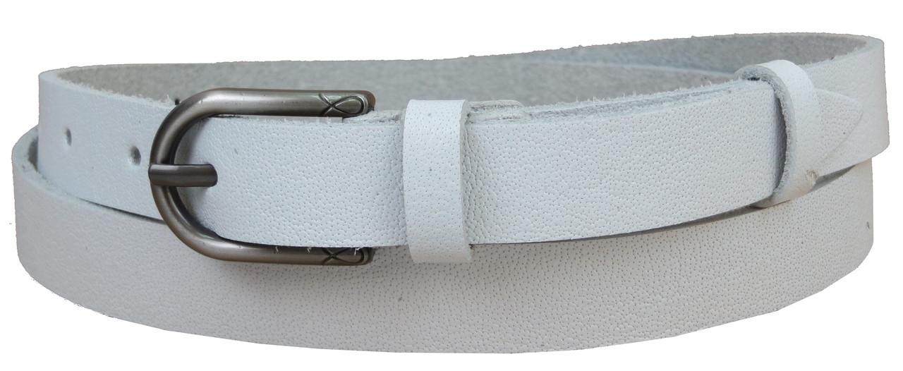 Жіночий шкіряний ремінь Skipper, колір білий 2 см