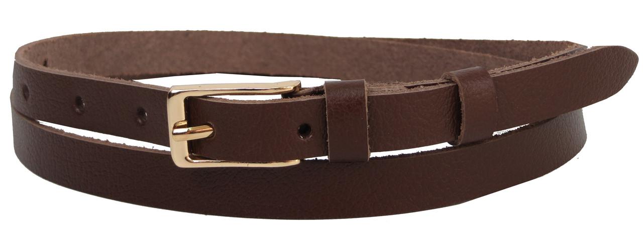 Узкий женский ремешок, поясок из кожи Skipper коричневый, 1,5 см