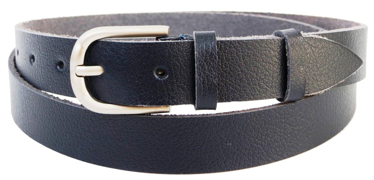 Шкіряний жіночий ремінь Skipper темно синій 2,5 см