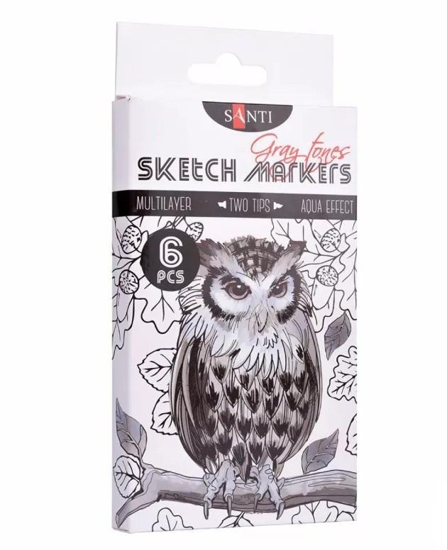 """Набір скетч-маркерів двосторонніх для малювання SANTI sketch """"Gray tones"""", 6 шт./уп."""