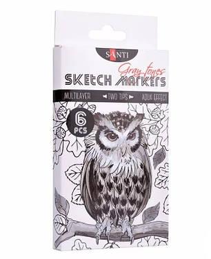 """Набір скетч-маркерів двосторонніх для малювання SANTI sketch """"Gray tones"""", 6 шт./уп., фото 2"""