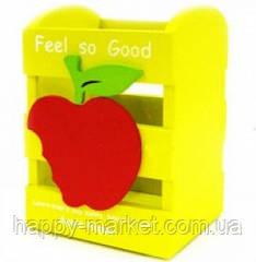 """Підставка для ручок дерево №W65 """"Яблуко"""" 11*8,5*7 мікс кол"""