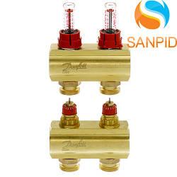Колектор теплої підлоги Danfoss FHF-2F c ротаметрами 088U0522