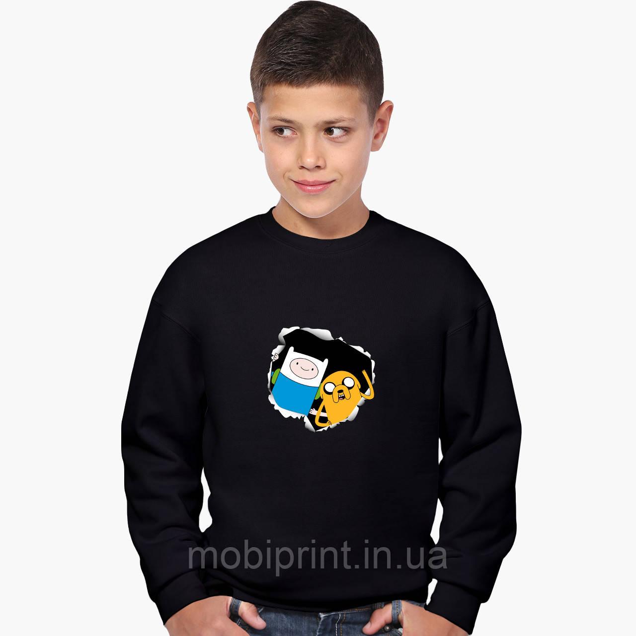 Свитшот для мальчика Финн и Джейк пес Время приключений (Adventure Time) (9509-1581) Черный