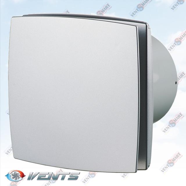 Vents 100 LD alumat (серый металлик) ― внешний вид (фото, изображение) декоративного вентилятора для ванной. Вентилятор обладает привлекаельным и современным дизайном, имеет малое энергопотребление, высокую продуктивность и низкий уровень шума. Модификации Вентс 100 ЛД: с обратным клапаном, с двигателем на подшипниках, со шнурком, с реле времени, с реле влажности.