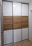 Шкаф купе с системой zola графит стекло лакобель + дсп дуб