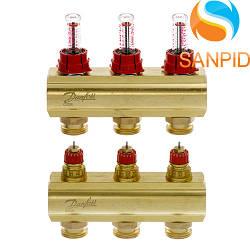 Колектор теплої підлоги Danfoss FHF-3F c ротаметрами 088U0523