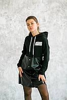 Платье-худи черное с надписью и юбкой из эко-кожи на девочку-подростка рост 140-176