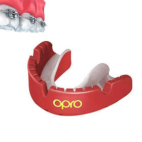 Капа OPRO Gold Braces Red/Pearl (art.002227008)