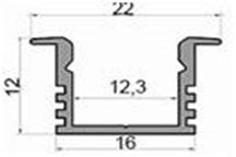 Алюмінієвий профіль врізний ЛПВ12 для світлодіодних стрічок лед 13503