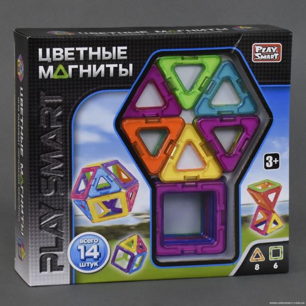 """Магнитный конструктор 2425 """"Play Smart"""" Цветные магниты 14 деталей."""