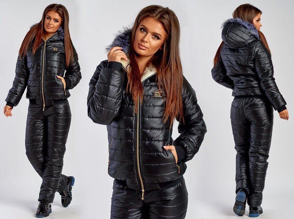 Лыжный зимний костюм куртка на овчине и штаны на синтепоне Черный
