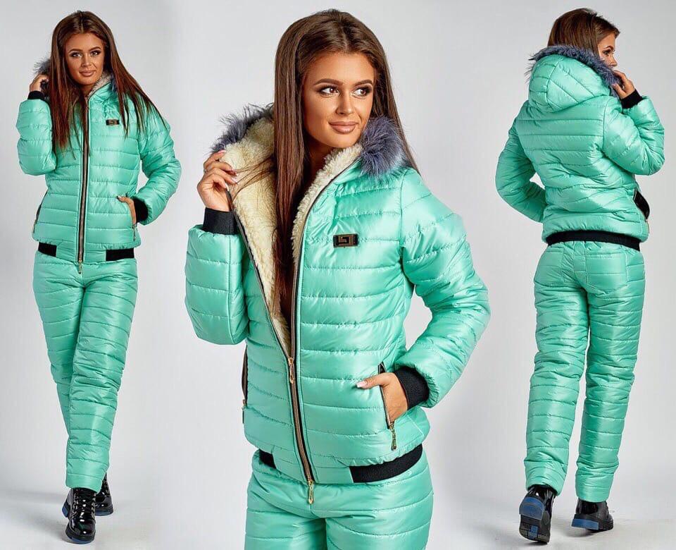 Лыжный Зимний Костюм Большого Размера куртка на овчине и штаны на синтепоне Мята