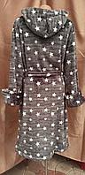 Халат теплый с капюшоном на молнии Звезды Графит, фото 2