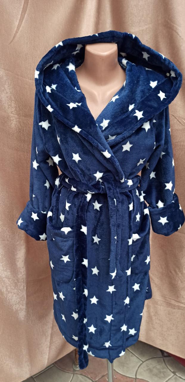Шикарный теплый халат с капюшоном на запах Звезды Темно-синий