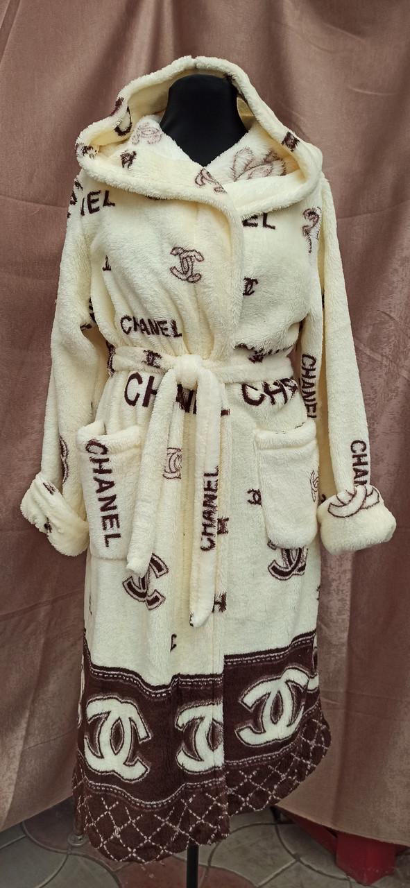 Махровый халат женский брендовый с капюшоном в стиле Шанель