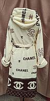 Махровый халат женский брендовый с капюшоном в стиле Шанель, фото 2